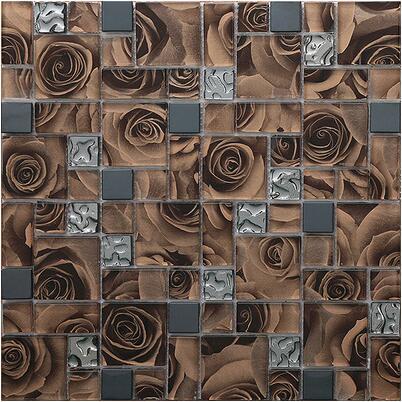 Parquet crystal glass mosaic tiles rose tv background wall tile living room wall paper bathroom shower bathroom ballroom villa мозаика elada mosaic n56 бургундский long size crystal