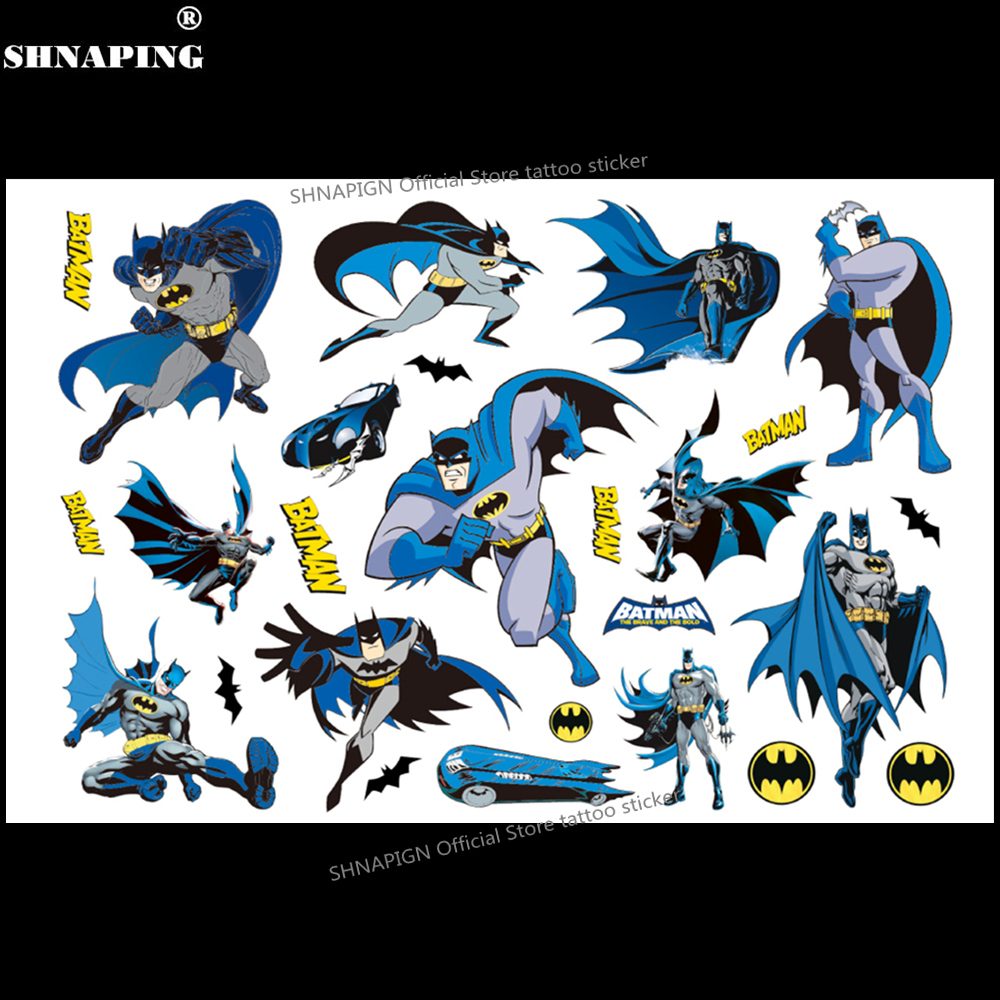 SHNAPIGN Cute Batman Children Cartoon Temporary Tattoos Sticker Fashion Summer Style Elsa Waterproof Girls Kids Boys Hot