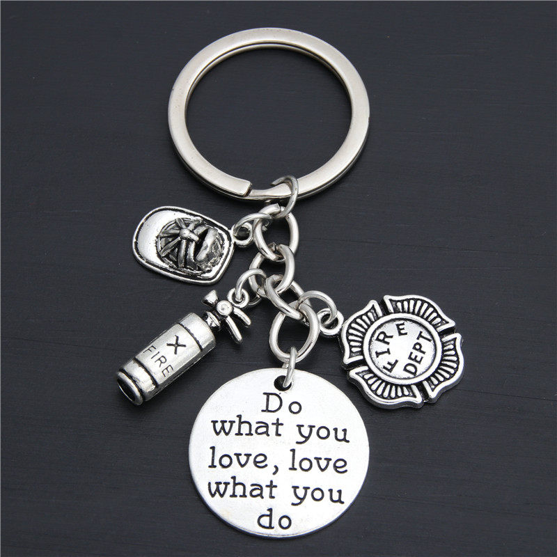 1pc Firefighter Keychain Fire Department Keyring Fighter Jewelry Fireman Gift Fireman Wife Gift Lady Firefighter E2031