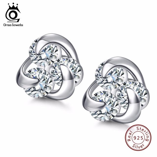 ORSA JEWELS 2019 Romantic Flower Design Sterling Silver 925 Earrings for Lovers Genuine Silver Women Stud Earring Jewelry SE10
