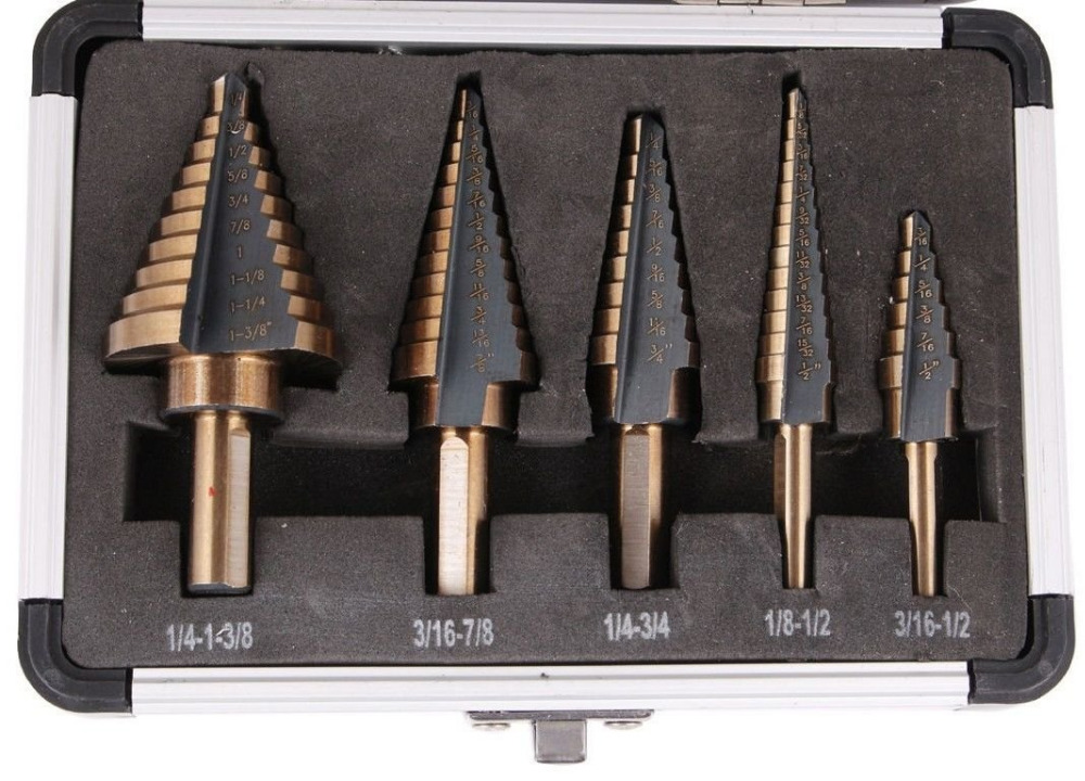 5pcs hss cobalt multiple hole 50 sizes step drill bit set with aluminum case 5pcs step drill bit set hss cobalt multiple hole 50 sizes sae step drills 1 4 1 3 8 3 16 7 8 1 4 3 4 1 8 1 2 3 16 1 2 drill bits