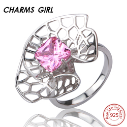 Charmsgirl halo silver square shape jewelry ring 925 sterling silver girls geometric creative rings for women.jpg 250x250