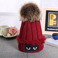 New Fashion Brand 2016 Winter Print Eyes Thick Warm Soft Casual Knitted Cap Girls Hats For Women Bonnet With Big Pom Pom Beanie