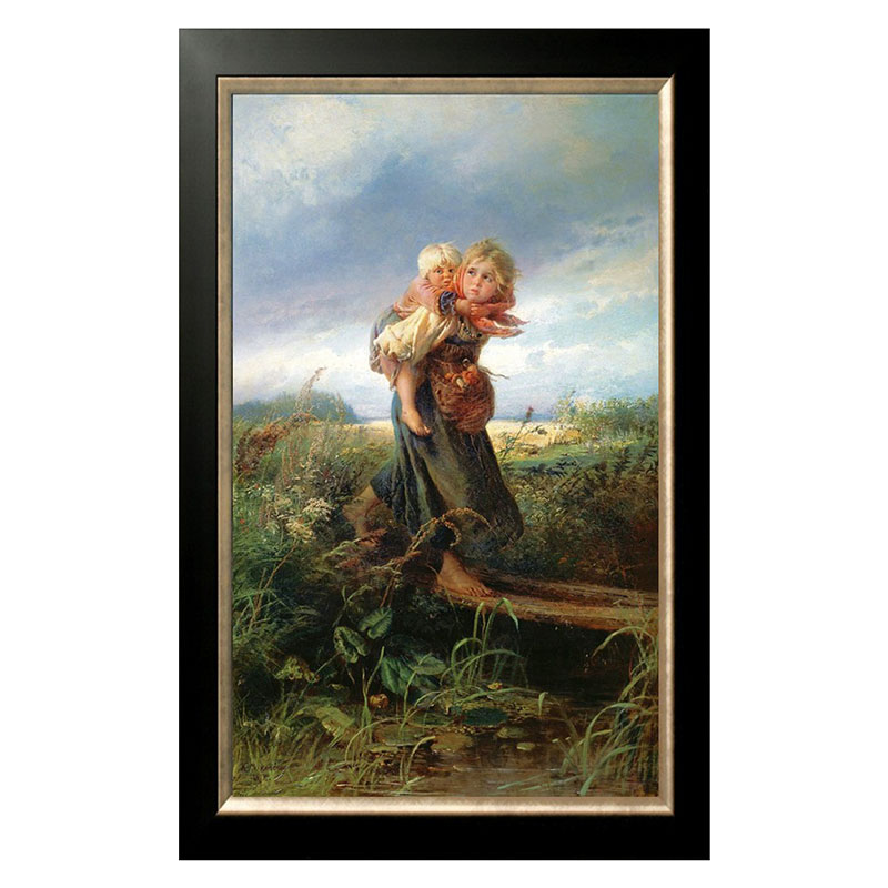 Golden panno Needlework Embroidery DIY portrait Painting Cross stitch 14ct girl with child Cross stitch Sets