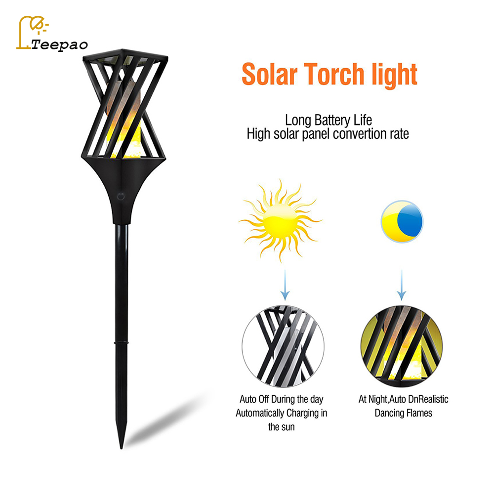 1Pc/2Pcs Solar Flame Flickering Lawn Lamp Led Dancing Flame Light Solar Outdoor Waterproof Garden Decor Lamp Solar Garden Lights jmkmgl solar flame lights path dancing flame lighting 66 led dusk to dawn flickering outdoor waterproof fence garden wall lights