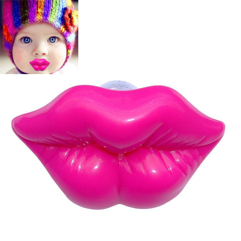 Creative Kiss Style Kids Baby Dummy Soother Lip Prank Infant toy Rose Red  TY