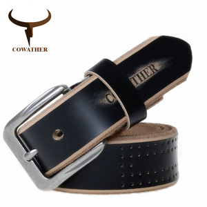 Image 1 - COWATHER 2019 high quality cow genuine leather luxury strap male belts for men new fashion style pin buckle free shipping