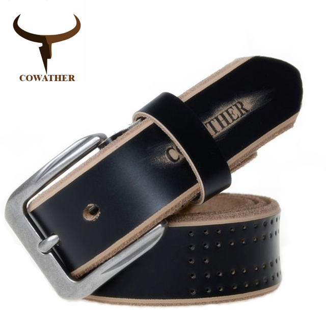 COWATHER 2019 high quality cow genuine leather luxury strap male belts for men new fashion style pin buckle free shipping