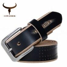 COWATHER 2019 hohe qualität kuh echtes leder luxus strap männlich gürtel für männer neue mode stil pin schnalle kostenloser versand