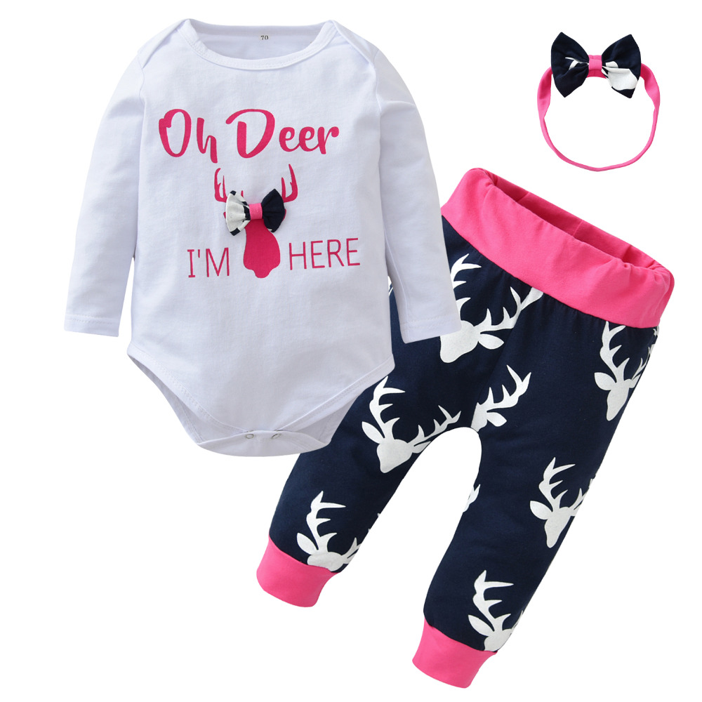 70b5a0bb1802 Infant Clothes Baby Girls Clothing Sets Christmas style Long sleeve ...
