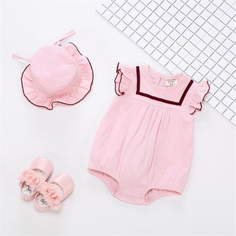 Clothing Sets Tireless Summer Newborn Baby Girls Romper Kids White/pink Cute Romper With Sunscreen Hats Bebes Jumpsuit Playsuit Summer Clothes Outfit High Resilience Girls' Baby Clothing