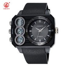 OHSEN Luxury Brand Military Watches Men Quartz Analog Double time rectangle Dial Watch Digital Sports Army Men Clock relogios