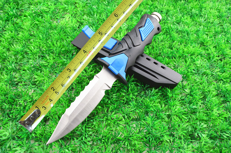 NEW Tip Serrated Durable Blade Diving knife Straight Survival Knife Fixed Blade Hunting Knife 440C Stainless Steel H214-2#