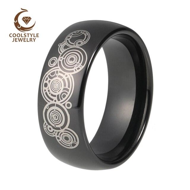 8073e12f85a2 8mm médico que los hombres de las mujeres de tungsteno negro boda banda  anillo de compromiso