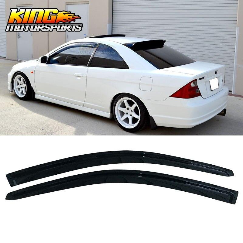 เหมาะกับ 01-05 Honda Civic Coupe 2DR อะคริลิค Visors หน้าต่าง 2 Pc ชุด