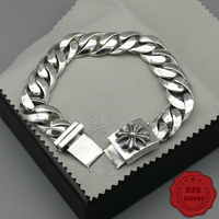 925 sterling silver bracelet personality fashion classic punk style street dance domineering cross smooth shape gift 2018 new