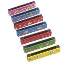 Wooden Painted Harmonica Children Kids Musical Instrument Educational Music Toy 328 Promotion %312