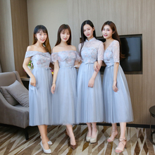 Blue Grey Midi Dress Bridesmaid Dresses Short Sleeves Wedding Party Dress Embroidery Back of Bandage grey one shoulder long sleeves midi dress
