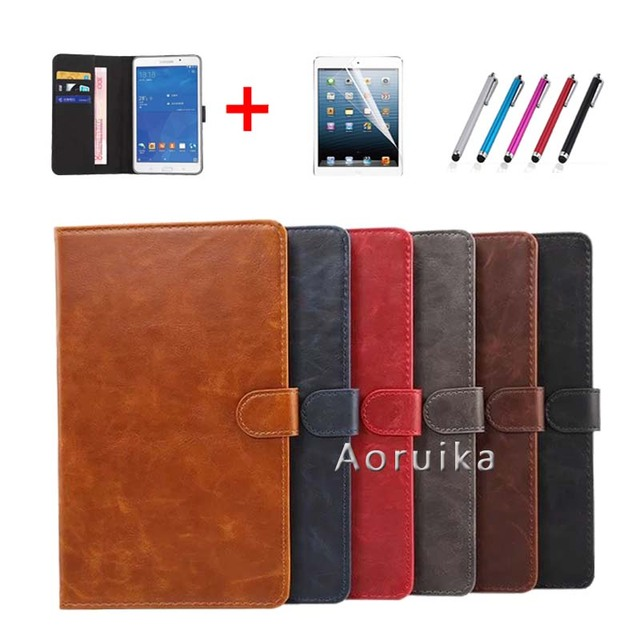 T350 T355  PU Leather Smart case for samsung galaxy tab A 8.0 SM-T350 SM-T355 SM-P350 P355 8'' tablet cover +film +stylus