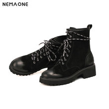 NemaoNe Ankle Boots Women Genuine Leather Casual Shoes Booties Woman 2018 Lace-up Brand motorcycle Boots Ladies boots