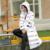 Invierno Cálida Chaqueta Acolchada de Algodón Mujeres Capa Encapuchada de La Cremallera de Las Señoras Outwear Md-largo