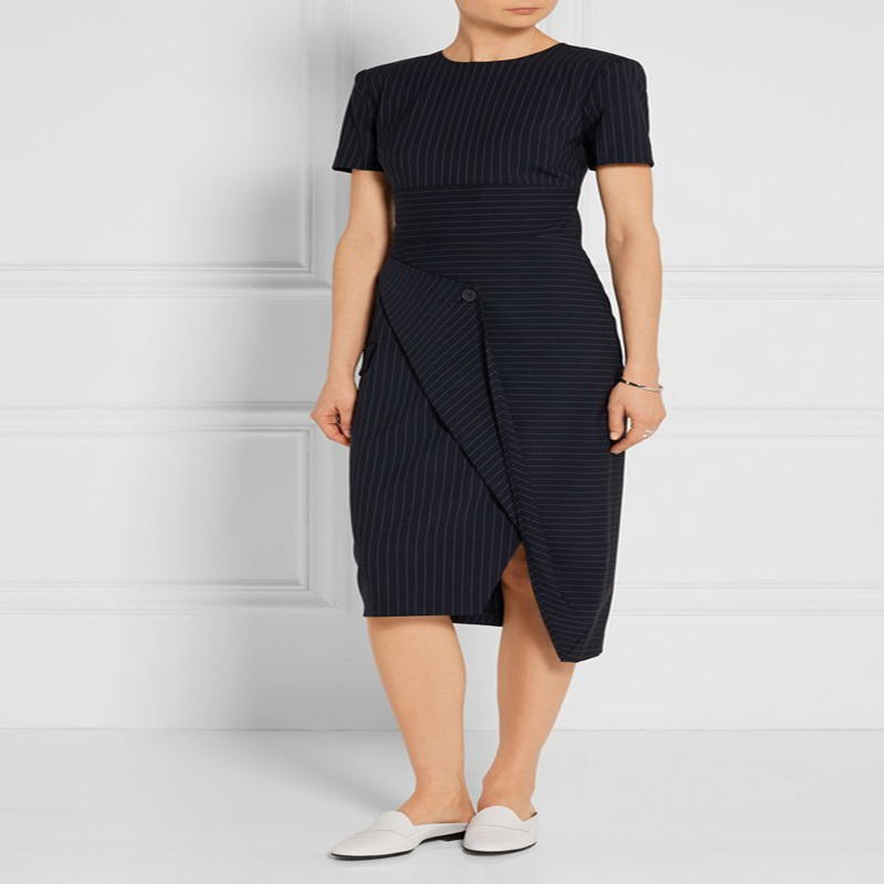 5fd58cc352c0 UK Brand Fashion 2019 Summer Women Designer Runway Striped Career Pencil  dress Office lady smart casual dress Female vestido
