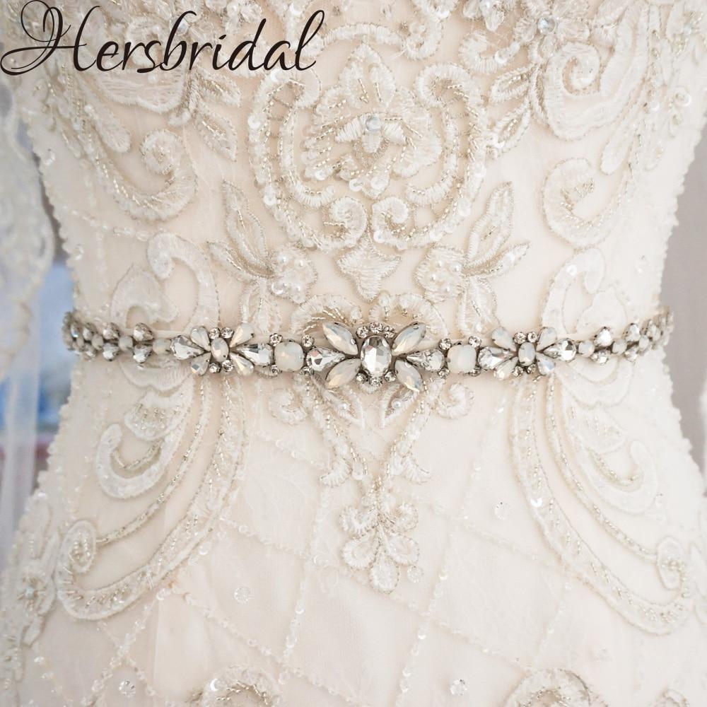 High Quality Crystal Wedding Sash Belt Vintage Slim Diamond Bridal Belt Handmade Wedding Accessories