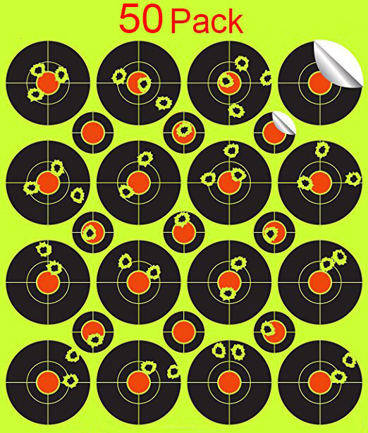 Paquete de 50 pegatinas de tiro, objetivos de ráfaga pegatinas de 2 pulgadas, salpicaduras, objetivos de disparo autoadhesivos reactivos Gu  Rifle