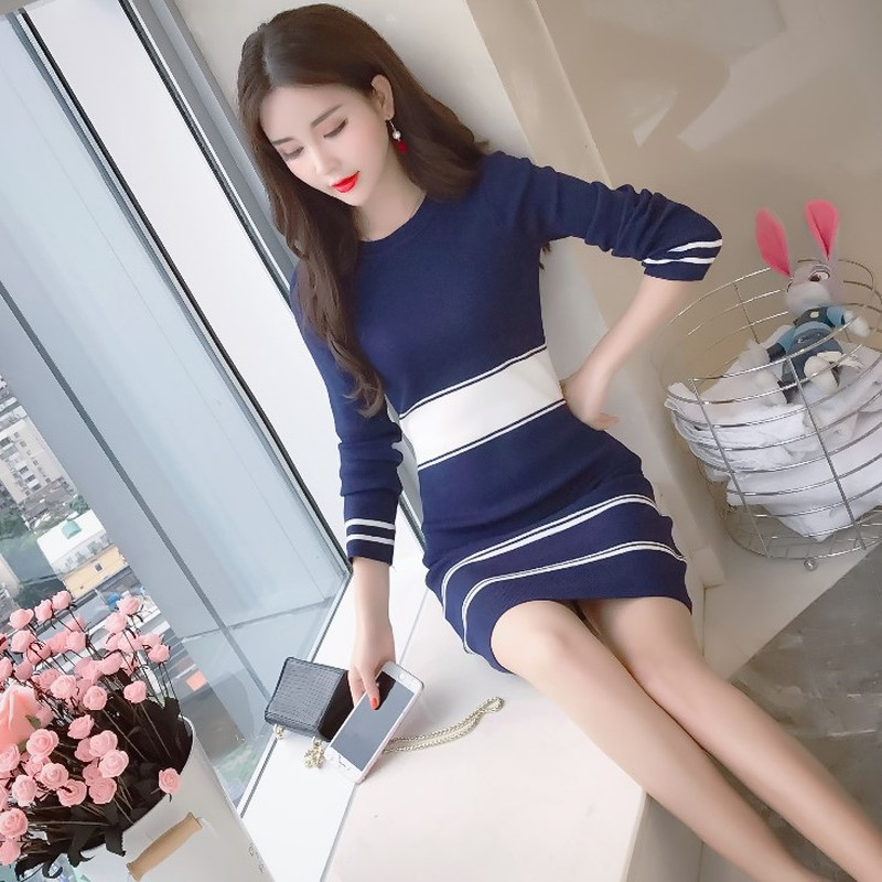brand moda feminina designer new bandage bodycon mini-dress aesthetic korean chic elegant vestidos Striped Empire Autumn dresses 1