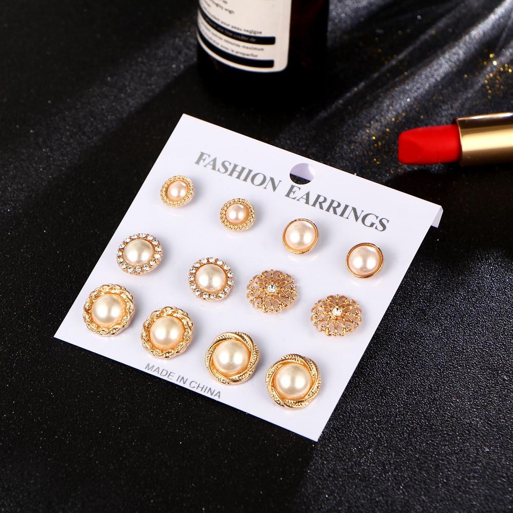 17KM Złoty Kolor Kwiat Hollow Stud Kolczyk Vintage Crystal - Modna biżuteria - Zdjęcie 6