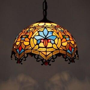 Image 2 - Barokowy Tiffany wisiorek światła witraż łańcuch oświetlenie wisząca oprawa oświetlająca na domowy salon jadalnia lampy pokojowe E27 110 240V