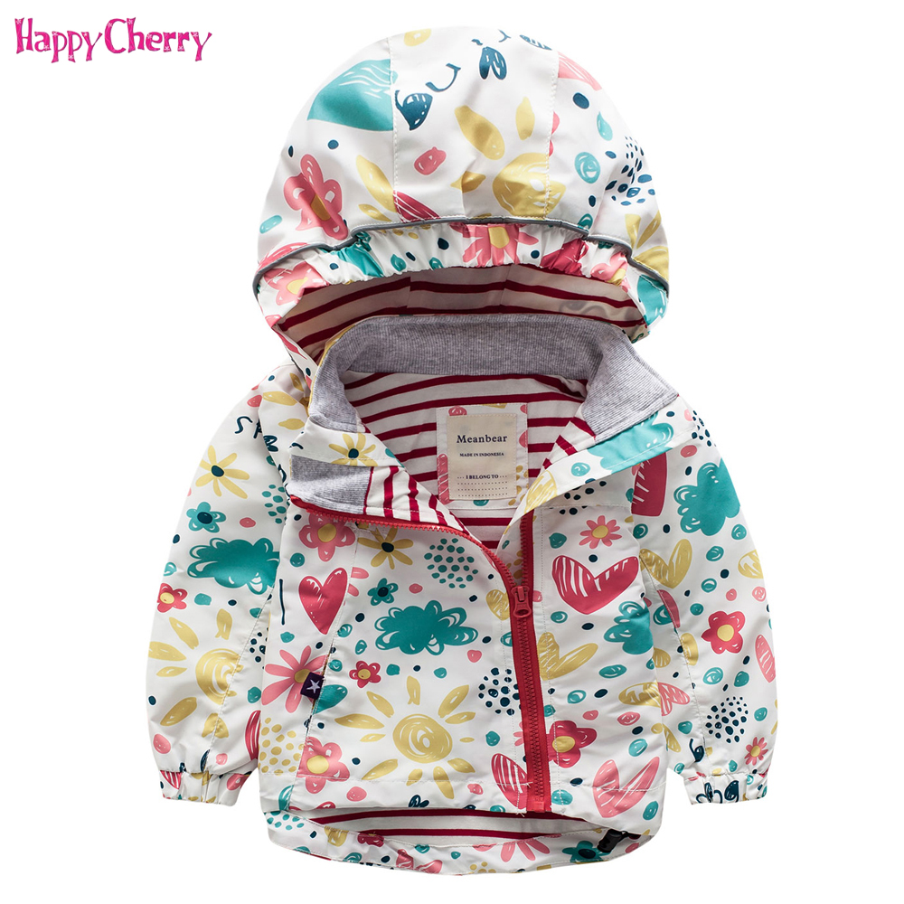 2018 Spring Autumn Baby Coat Jacket For Girls Cartoon Graffiti Hooded Windbreaker Kids Trench Coat Children Outerwear Clothes
