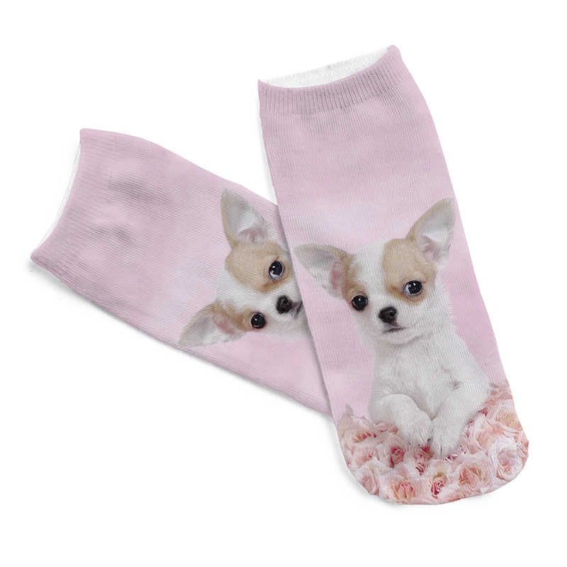 1 para śliczne pies różowy biały szczeniak skarpetki z nadrukiem dzieci dzieci Low Cut kolor bawełna różowy skarpety na co dzień charakter krótki 3D skarpety