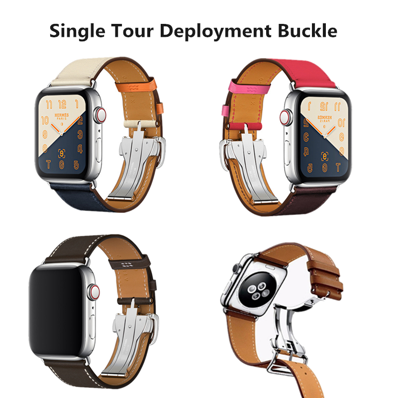 Herm Logo Leather Single Tour Deployment Buckle Watch Band For Apple Watch Series 5 4 3 2 144MM 40MM Strap For IWatch Bracelet