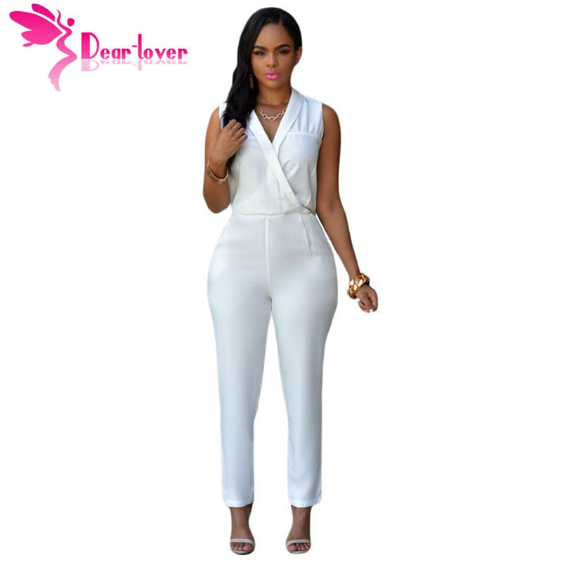 Dear Love Adult Office Ladies Outfits Luxe White Jumpsuit Long Pants Overalls Bodysuits Female ...