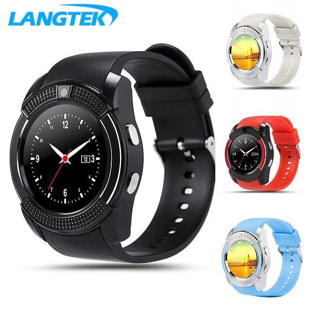 imágenes para LANGTEK Usable Dispositivos V8 Reloj Inteligente Con Tarjeta SD Libre Electrónica Muñeca Reloj Teléfono Para El Teléfono Inteligente Android Smartwatch