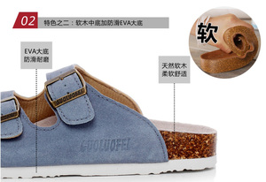 Image 2 - Summer Mens Cow Suede Leather Mule Clogs Slippers High Quality Soft Cork Two Buckle Slides Footwear For Men Women Unisex 35 46