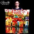 Цифровая живопись маслом серия шелк женщина большие квадратные шарфы, шарфы платки