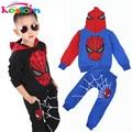 Keelorn meninos roupas da moda 2017 ativo conjuntos de vestuário terno 2 peças conjunto de fatos de Treino terno esportes Do Homem Aranha Crianças conjuntos de Roupas