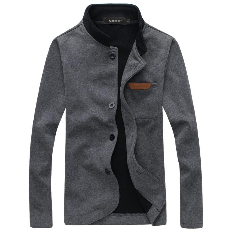 Fleece Jacket Coat Outwear Collar Men's Single-Breasted Winter Cotton New-Style Casual