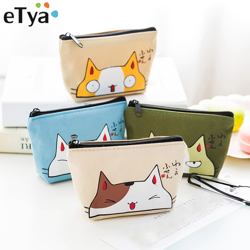 eTya Cat Coin Purses Women Wallets Small Cute Cartoon Animal Card Holder Key Bag Money Bags for Girls Ladies Purse Kids Children candy colored girls coin bags women key wallets cute pu eva mini square storage hard bag case holder for sd tf card earphone