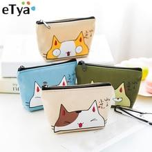 ETya кошельки кошка монет Для женщин кошельки Маленький милый мультфильм животных держатель для карт Ключевые сумка Деньги сумки для девочек дамы кошелек дети детская