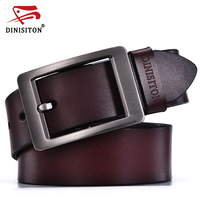 DINISITON Vintage Jean Pin Buckle Belts Business Casual Genuine Leather Belt For Men Classic Trousers Cintos
