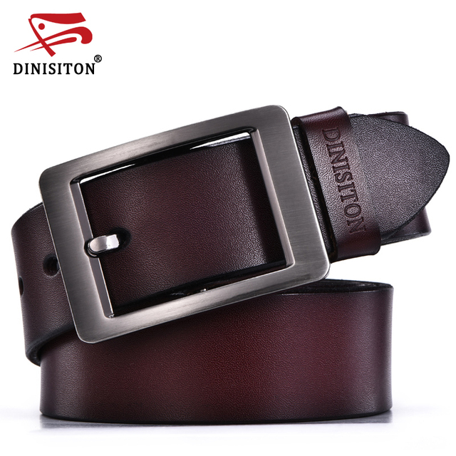 DINISITON vintage jean pin buckle belts business casual genuine leather belt for men classic trousers cintos para homens preto