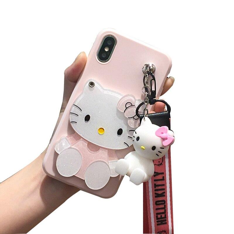 Für xiaomi redmi 5/5 plus rosa hallo kitty fall nette spiegel telefon abdeckung für xiaomi redmi note 5/5 pro 3D halter + strap