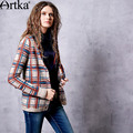 Artka Women's 2017 Spring Plaid Jarquard All-match Cardigan Vintage V-neck Long Sleeve Single Breasted Sweater Coat WB10261Q