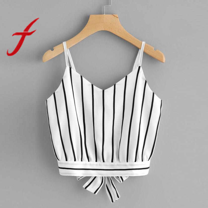 Feitong Sexy Women Crop Tops Striped Tie Back Cami Casual Spaghetti Strap Bow Vest Knot Cropped Tank Tops Vest cropped feminino