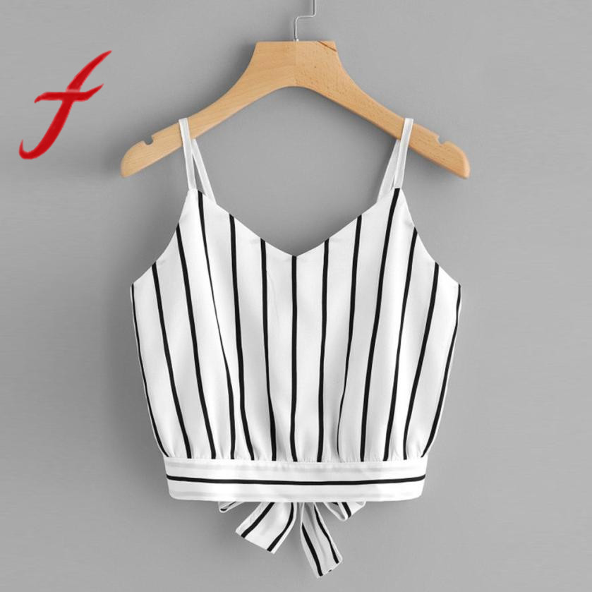 Feitong Sexy Women Crop Tops Striped Tie Back Cami Casual Spaghetti Strap Bow Vest Knot Cropped Tank Tops Vest cropped feminino girl
