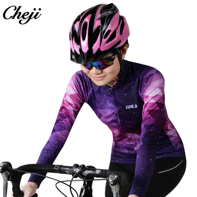 b212dfea6 placeholder CHEJI Women s Long Sleeve Bike Set Quick dry Starry Sky Pattern Cycling  Jersey Pro Team Breathable