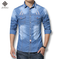 Hot Sale 2016 New Men Shirts Denim Casual Long-Sleeved Cotton Denim Shirt Men's Slim Fit Brand Men Jeans Shirts M-5XL